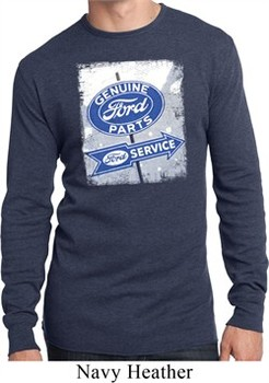 Mens Shirt Vintage Sign Genuine Ford Parts Long Sleeve Thermal Tee