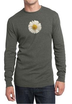 Mens Shirt White Daisy Long Sleeve Thermal Tee T-Shirt