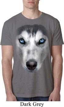 Mens Siberian Husky Shirt Big Siberian Husky Face Burnout T-Shirt
