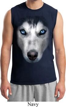 Mens Siberian Husky Shirt Big Siberian Husky Face Muscle Tee T-Shirt
