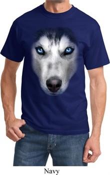Mens Siberian Husky Shirt Big Siberian Husky Face Tee T-Shirt