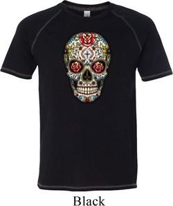 Mens Skull Shirt Sugar Skull with Roses Tri Blend Tee T-Shirt