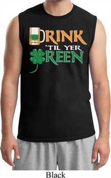 Mens St Patrick's Day Shirt Drink Til Yer Green Muscle Tee T-Shirt