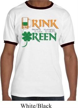 Mens St Patrick's Day Shirt Drink Til Yer Green Ringer Tee T-Shirt
