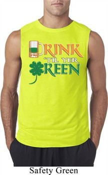 Mens St Patrick's Day Shirt Drink Til Yer Green Sleeveless Tee T-Shirt