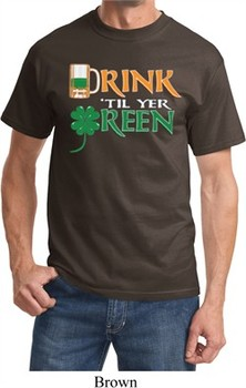 Mens St Patrick's Day Shirt Drink Til Yer Green Tee T-Shirt
