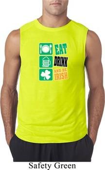 Mens St Patricks Day Shirt Eat Drink Be Irish Sleeveless Tee T-Shirt