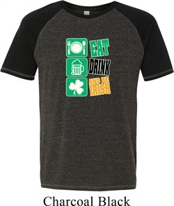 Mens St Patricks Day Shirt Eat Drink Be Irish Tri Blend Tee T-Shirt