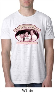 Mens Three Stooges Shirt Attorneys at Law White Burnout Tee T-Shirt