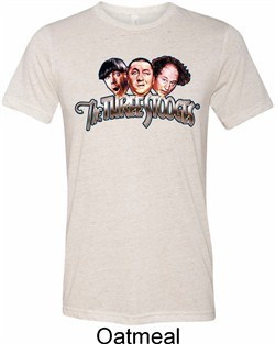 Mens Three Stooges Shirt Stooges Faces Tri Blend Crewneck Tee T-Shirt