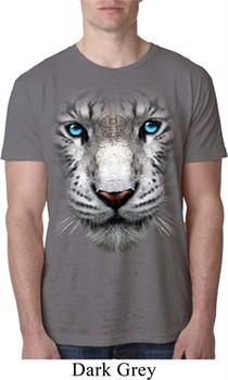Mens White Tiger Shirt Big White Tiger Face Burnout T-Shirt
