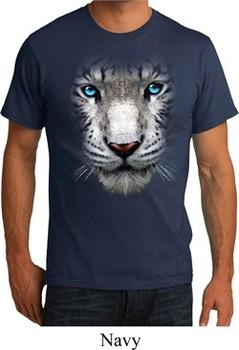 Mens White Tiger Shirt Big White Tiger Face Organic T-Shirt