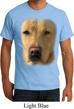 Mens Yellow Lab Shirt Big Yellow Lab Face Organic T-Shirt