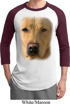Mens Yellow Lab Shirt Big Yellow Lab Face Raglan Tee T-Shirt