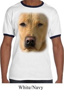 Mens Yellow Lab Shirt Big Yellow Lab Face Ringer Tee T-Shirt