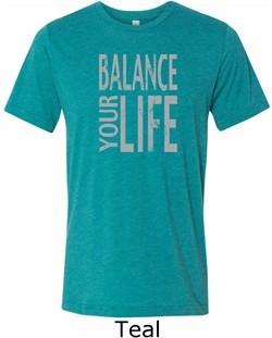 Mens Yoga Shirt Balance Your Life Tri Blend Crewneck Tee T-Shirt