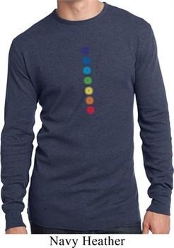 Mens Yoga Shirt Glowing Chakras Long Sleeve Thermal Tee T-Shirt