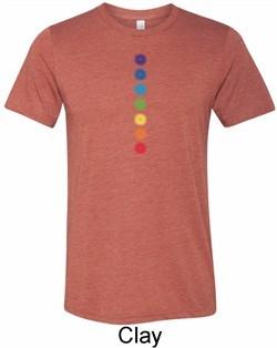 Mens Yoga Shirt Glowing Chakras Tri Blend Crewneck Tee T-Shirt