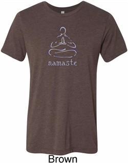 Mens Yoga Shirt Namaste Lotus Pose Tri Blend Crewneck Tee T-Shirt