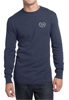 Mens Yoga Shirt OM Heart Pocket Print Long Sleeve Thermal Tee T-Shirt