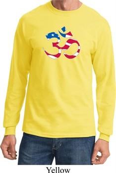 Mens Yoga Shirt Patriotic Om Long Sleeve Tee T-Shirt