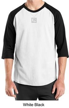 Mens Yoga T-shirt ? Aum Charm Meditation 3/4 Sleeve Raglan Tee Shirt