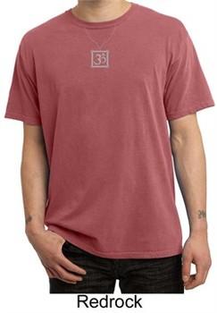 Mens Yoga T-shirt ? Aum Charm Meditation Pigment Dyed Tee Shirt