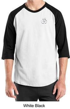 Mens Yoga T-shirt ? Aum Hindu Patch Pocket Print Raglan Shirt