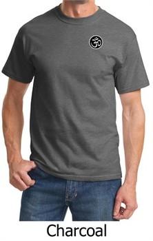 Mens Yoga T-shirt ? Aum Patch Sanskrit Pocket Print Adult Tee Shirt