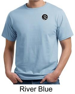 Mens Yoga T-shirt Aum Patch Sanskrit Pocket Print Organic Tee Shirt