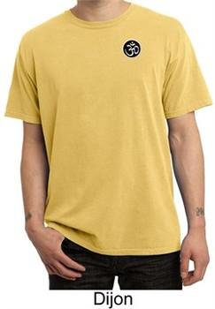 Mens Yoga T-shirt Aum Patch Sanskrit Pocket Print Pigment Dyed Shirt