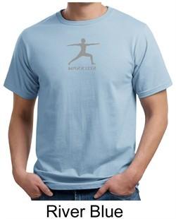 Mens Yoga T-shirt ? Warrior 2 Pose Meditation Organic Tee Shirt