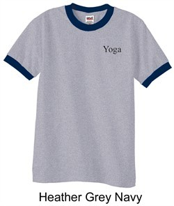 Mens Yoga T-shirt Yoga Logo Pocket Print Adult Ringer Shirt
