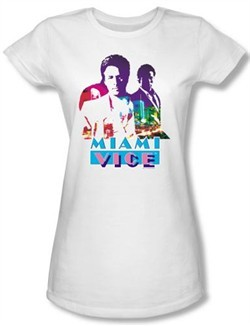 Miami Vice Juniors T-shirt Crockett And Tubbs White Tee Shirt