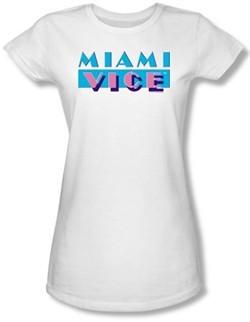 Miami Vice Juniors T-shirt Logo Classic White Tee Shirt