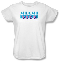 Miami Vice Ladies T-shirt Logo Classic White Tee Shirt