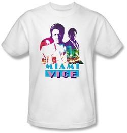Miami Vice T-shirt Crockett And Tubbs Adult White Tee Shirt