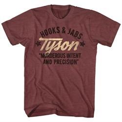 Mike Tyson Shirt Hooks & Jabs Heather Maroon T-Shirt