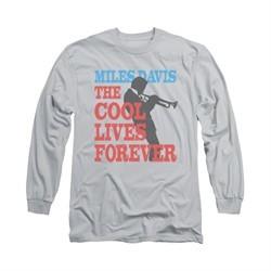 Miles Davis Shirt Cool Lives Long Sleeve Silver Tee T-Shirt