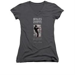 Miles Davis Shirt Juniors V Neck Silhouette Charcoal T-Shirt