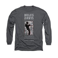 Miles Davis Shirt Silhouette Long Sleeve Charcoal Tee T-Shirt