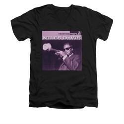 Miles Davis Shirt Slim Fit V-Neck Prestige Profiles Black T-Shirt