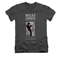Miles Davis Shirt Slim Fit V-Neck Silhouette Charcoal T-Shirt