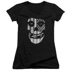 Misfits Juniors V Neck Shirt Fiend Flag Black T-Shirt