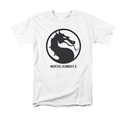 Mortal Kombat Shirt Black Dragon Logo White T-Shirt