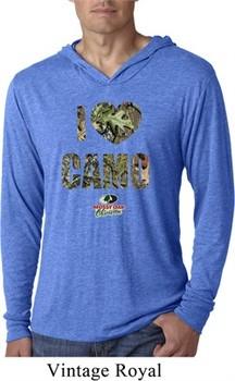 Mossy Oak I Love Camo Lightweight Hoodie Shirt
