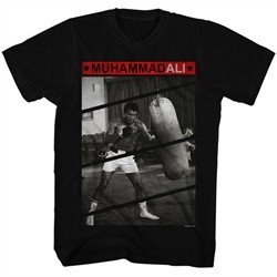 Muhammad Ali Shirt Punching The Bag Black T-Shirt