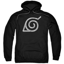 Naruto Shippuden Hoodie Distressed Leaves Symbol Black Sweatshirt Hoody