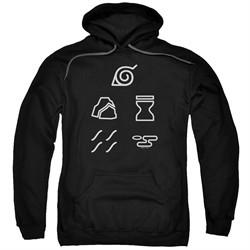 Naruto Shippuden Hoodie Village Symbols Black Sweatshirt Hoody