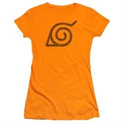 Naruto Shippuden Juniors Shirt Distressed Leaves Symbol Orange T-Shirt